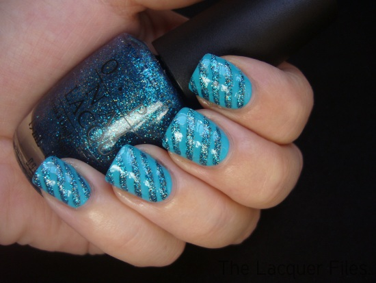 Blue Stripes Nail Art Design