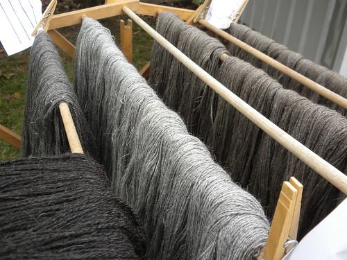 Shades of gray llama yarn