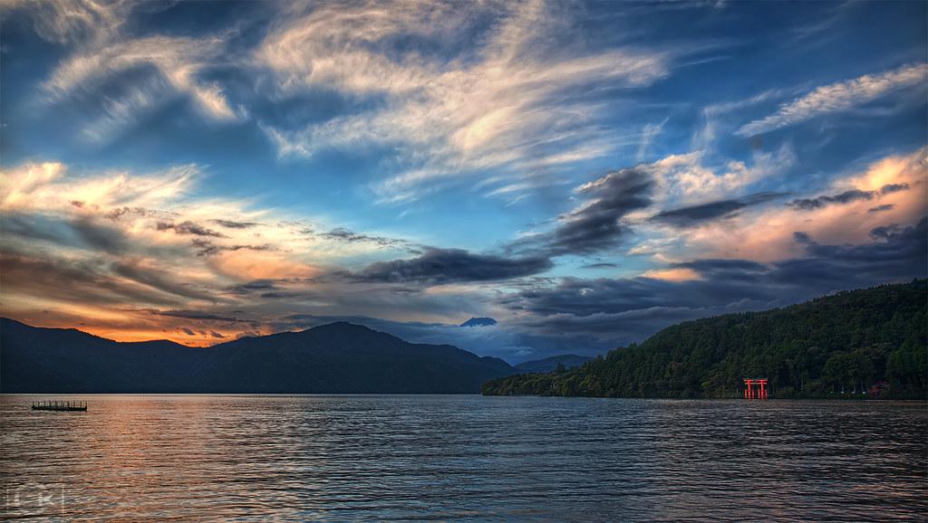 Lake Ashi at dusk