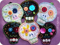 Calaveras (Jewelzy Bug) Tags: colour festival dayofthedead dead skull whimsy day bright dia sugar ornament button diadelosmuertos muertos etsy calavera jewelzybug