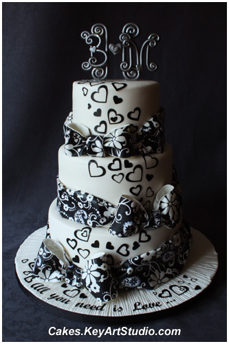 All you need is Love - Black and White Wedding Cake