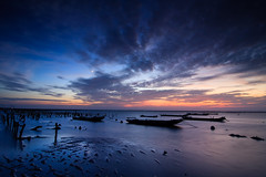 (samyaoo) Tags: sunset moon beach clouds coast taiwan  oyster   changhua