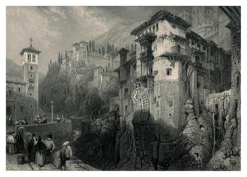 012-Restos de un puente morisco en el Darro-Tourist in Spain-Granada-1835-David Roberts