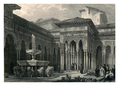 010-El patio de los leones-Tourist in Spain-Granada-1835-David Roberts
