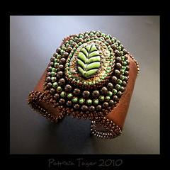 Waiting for Autumn - OOAK Cuff (Triz Designs) Tags: brown green leather bronze ceramic leaf handmade ooak jewelry bracelet cuff beaded raku beadwork beadembroidery makustudio