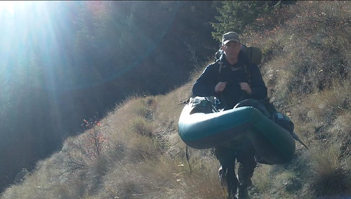 Grant taking boat down Hoodoo trail into the Wenaha-Tucannon Wilderness Area