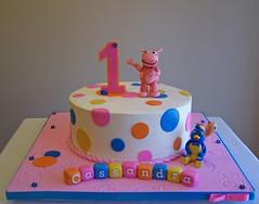 Backyardigans cake (cakespace - Beth (Chantilly Cake Designs)) Tags: pink blue orange toronto cakes yellow cake pablo polkadots bolo mississauga backyardigans uniqua firstbirthdaycake cakespacebeth braziliancakestoronto