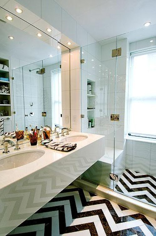 White Bathroom with a Chevron Floor