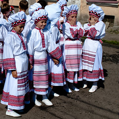 Don't take photo of us (alxpn) Tags: family girls red white color clothing village child hand dress image little folk traditional decoration performing culture ukraine retro ribbon braids gown performer indigenous ethnicity 500x500 nikond3000