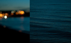To Be Alone with You (Brendan_Timmons) Tags: ocean blue sunset sea water lights bay nikon rust diptych waves alone bokeh dusk ripple melbourne lakemichigan lonely 50mmf14g d5000