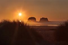 Twin Rocks  Oregon  Part One (janusz l) Tags: statepark sunset sea beach grass oregon coast path 101 coastal rays manual garibaldi hdr pathway rockaway partone twinrocks janusz nehalembay leszczynski 001405