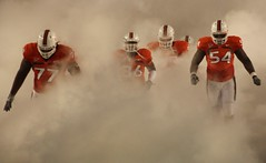 The Canes come in through the Smoke (dave_teems) Tags: canes collegefootball miamihurricanes noles theu floridastateseminoles