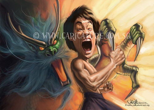 digital caricature of furious Bruce Lee (WIP) watermark
