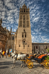 Giralda, Cathedral of Seville  Catedral de Sevilla, Spain HDR (marcp_dmoz) Tags: espaa horse tower church clouds photoshop caballo sevilla spain nikon torre carriage cathedral bell map gothic kutsche kathedrale catedral iglesia kirche wolken mosque seville andalucia nubes mezquita santamaria nikkor baroque andalusia 1735mmf28d turm andalusien giralda pferd renaissance tone hdr spanien campanario barroco gotico glocken renacimiento carruaje moschee photomatix giraldillo tonemapped tonemapping tonemap almohade no8do almohad d700