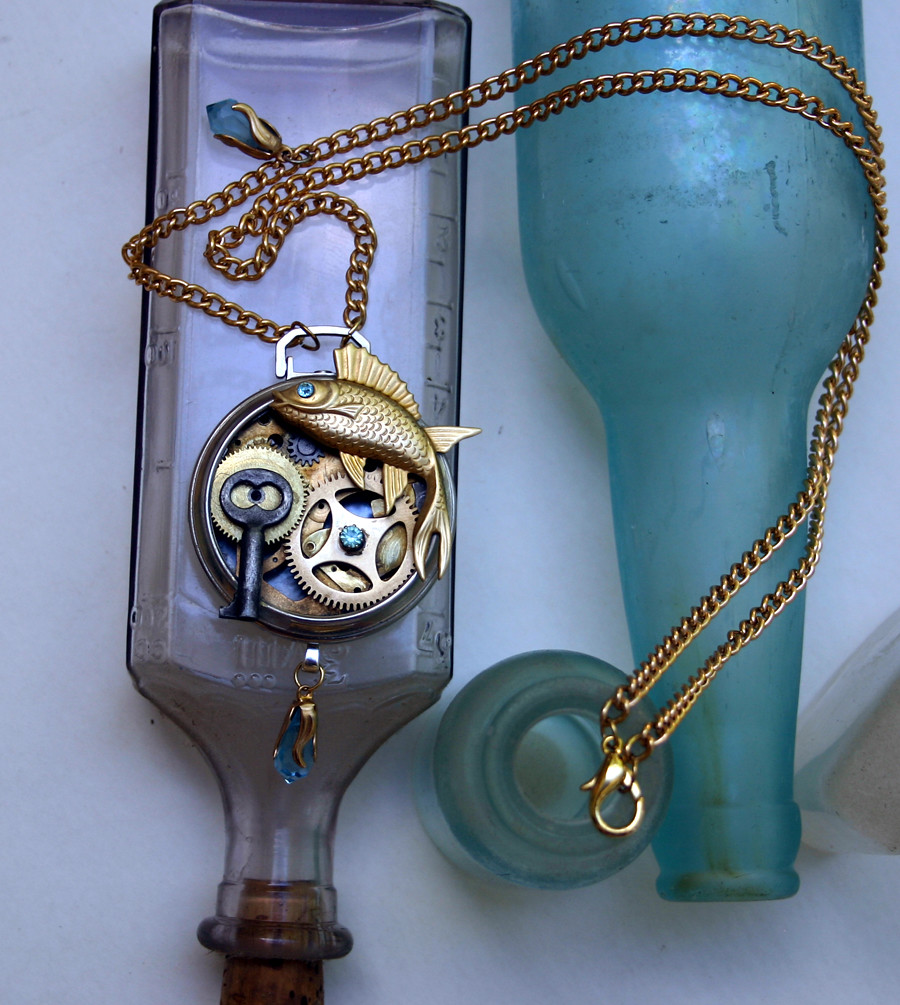 Incredible Steampunk necklace - Pisces fish with Aquamarine glass embellishments - 02