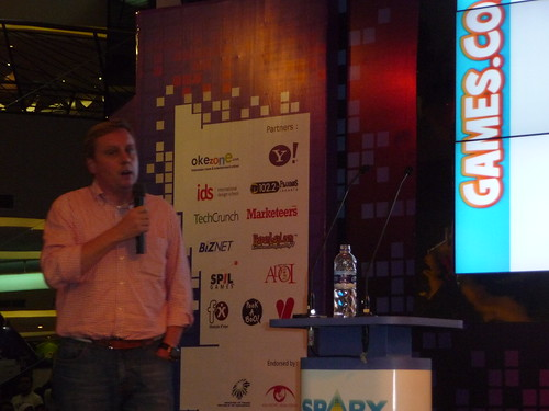 Giving a talk about games.co.id at the SparxUp Awards 2010 in Jakarta, Indonesia