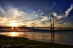 a evening by the river (manual_exp) Tags: bridge sunset sky clouds reflections hull 1001nights hdr humberbridge riverhumber 3exp