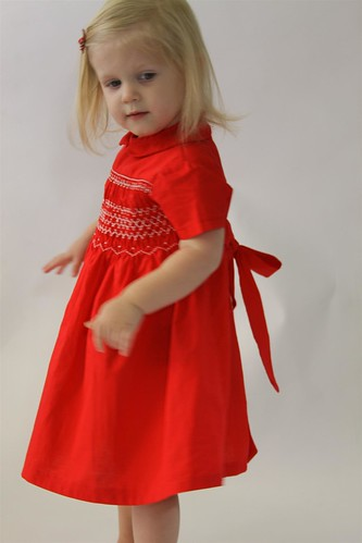 1961 Hand Smocked Red Toddler Dress Handmade 2T