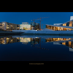 blue hour (stella-mia) Tags: blue reflection oslo norway evening opera bluehour oslofjord 2470mm oslooperahouse canon5dmkii annakrmcke