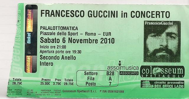 Entrada concierto Francesco Guccini Roma 6 noviembre