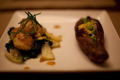 Scallops with Sesame Bok Choy and Sweet Potato with Miso Scallion Butter