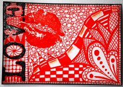 RED LOVE (Red Heart Studio) Tags: red color art love lines atc artisttradingcard collage pen ink paper design paint image handmade mixedmedia creative craft bubbles lips stamp card swap marker create dots trade gel checks zentangle