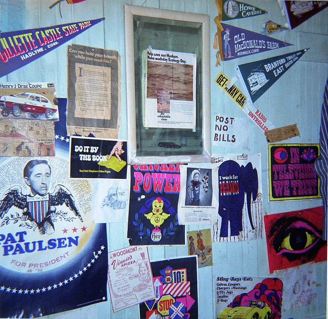 1970s Dayglo posters, (one for Corvette Sting Ray), pennants and other other stuff decorating my room (in brilliant flashcube light). Milford Connecticut. July 1972