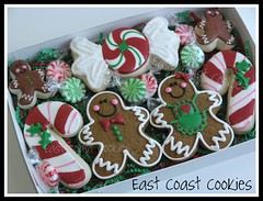 Visions of Sugarplums!  Another Christmas set. (East Coast Cookies) Tags: christmas girl cookies candy gingerbread gingerbreadman candycanes decoratedcookies gingerbreadcookies gingerbreadgirl candycanecookies