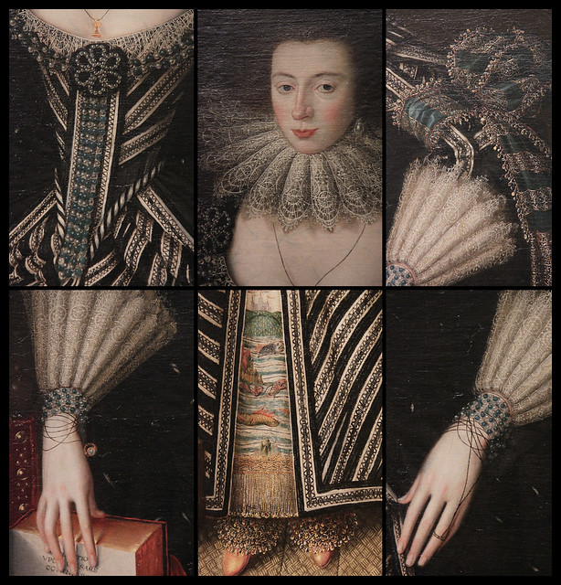 Details of Portrait of lady, probably Mrs Clement Edmondes, British School 17th c, about 1605-10
