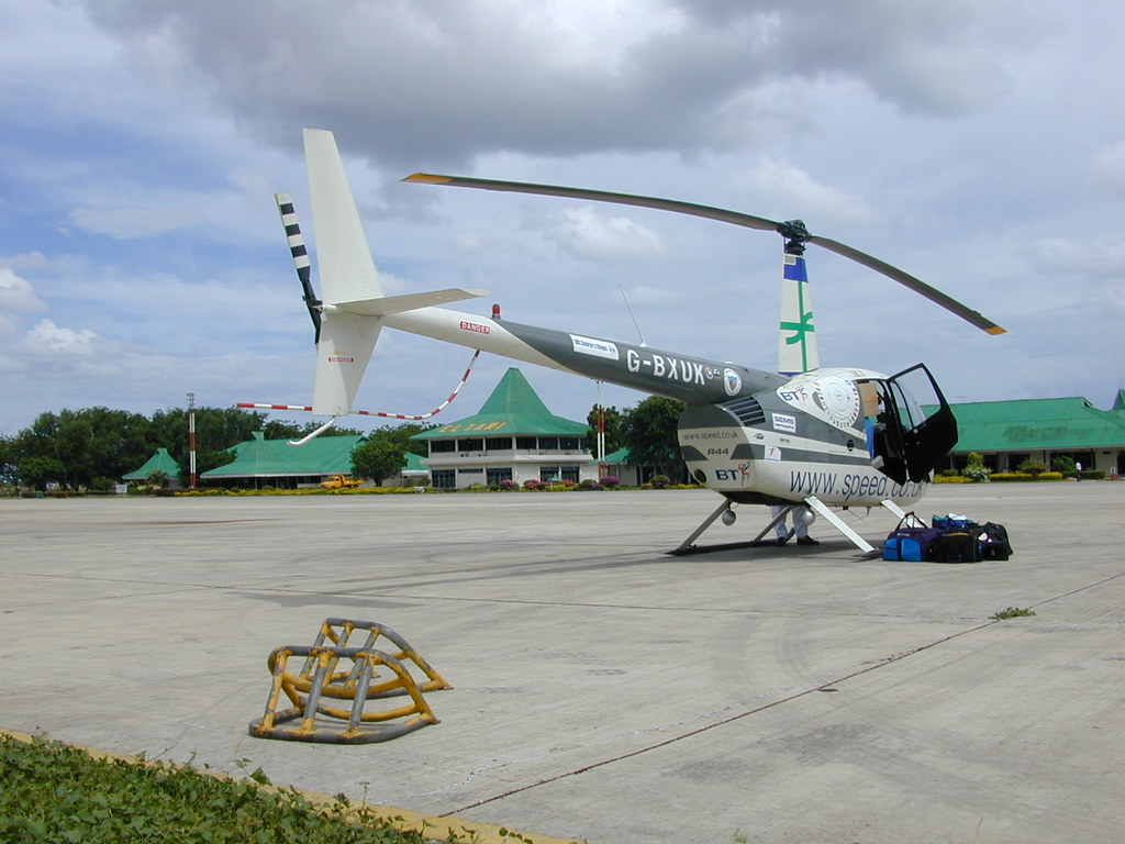 Helicopter lift, taxy, take-off, cockpit view Robinson R44