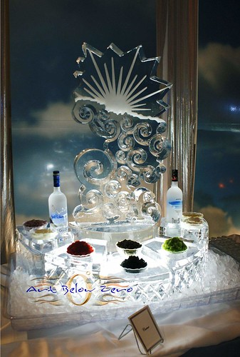 Silver Lining Caviar Station ice sculpture
