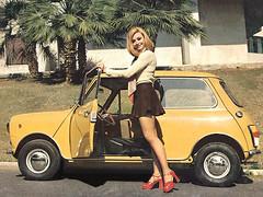 Vintage Mini from the 70's with Raffaella Carr (Nigel Smuckatelli) Tags: vintage mini skirt cooper minicooper miniskirt
