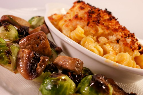 Oven Roasted Brussels Sprouts and Mushrooms with 4-Cheese Macaroni and Cheese