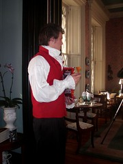 a young man dressed as Darcy in pride and prejudice in our dining room