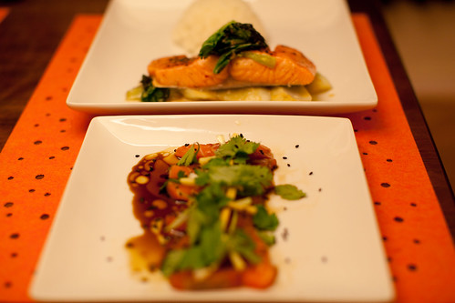 Salmon Sashimi with Hot Oil and Sesame; Sous Vide Salmon with Miso Bok Choy