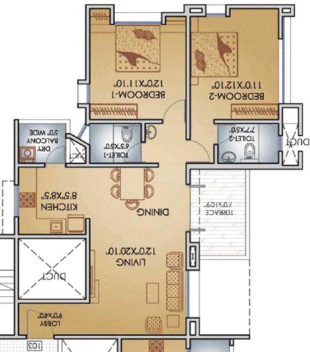 Teerth Towers 2 BHK Flat 775 Carpet+DryBalcony+Terrace