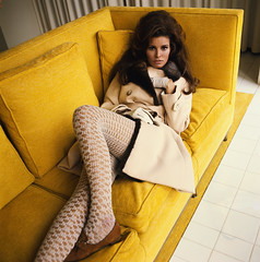 Raquel Welch on the Couch (The Pie Shops Collection) Tags: woman stockings fashion vintage couch raquelwelch 1967 1960s overcoat