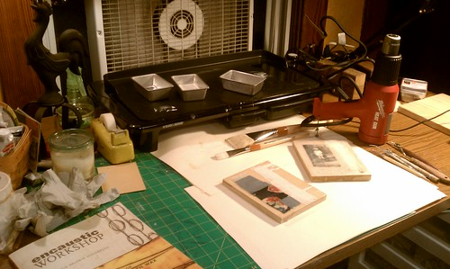 Encaustic studio setup