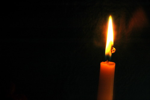 Candle atop vanity
