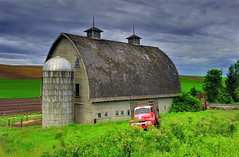 Melancholy, Palouse Washington (Ireena Eleonora Worthy) Tags: red sky usa barn truck dark washington farm fields change wa melancholy palouse mygearandmepremium mygearandmebronze mygearandmesilver mygearandmegold mygearandmeplatinum mygearandmediamond northernstraitsphotography