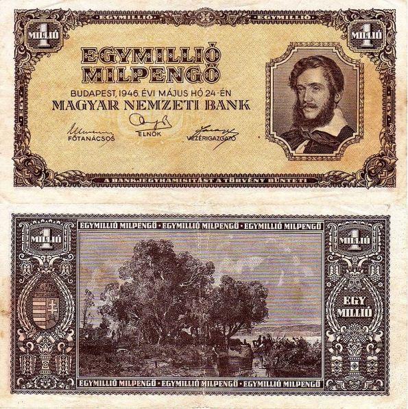 1 milión MilPengő Maďarsko 1946, P128