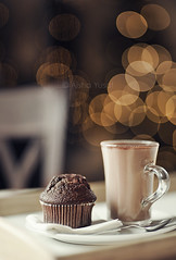 Hot Chocolate and a Muffin.. (aisha.yusaf) Tags: morning nikon bokeh yes hotchocolate christmastree christmaslights muffin chocolatemuffin d700 85nnf14d amufofhotchocolate weputitupyesterday kidshadfundecoratingit