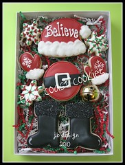 """Believe"" -Boxed set #2 (East Coast Cookies) Tags: christmas cookies santahat redandblack christmascookies santacookies redcookies mittencookies"