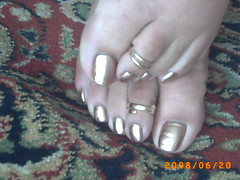 gold and gold (sandalman444) Tags: male feet foot toes long sandals painted ring mens pedicure toenails toerings toenaik