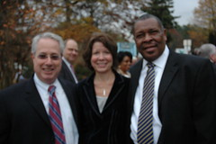 Sam Olens, Attorney General-Elect, Faye DiMassimo Cobb DOT Director, and David Hankerson, Cobb County Manager