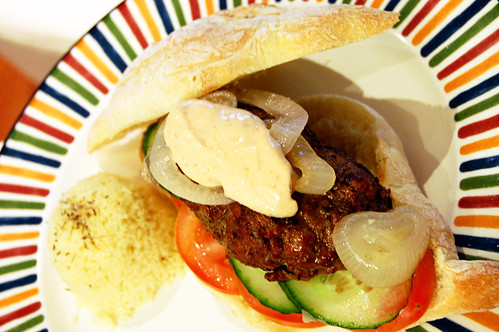 Cumin-Spiced Burgers with Harissa Mayo