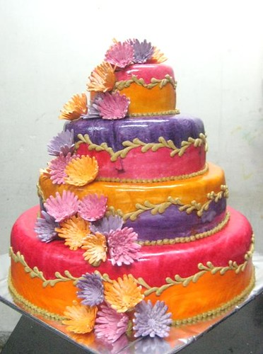 4 tier Pink, Purple & Orange Wedding cake with sugar Chrysanthemum ...