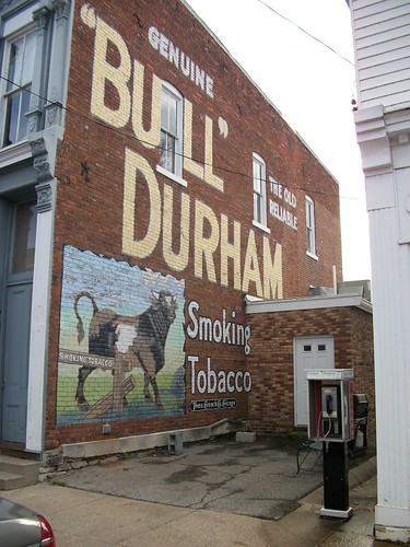 "restored ""bull"" durham ghost sign"