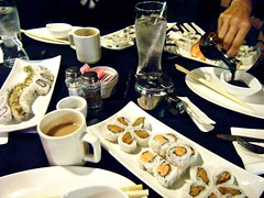 tea and sushi (skintone) Tags: pink flowers white ontario canada black oneaday silver lunch rice tea salmon delicious asparagus chopsticks windsor soysauce sweetpotato tuna icewater skintone 1099 allyoucaneatsushi chefmike 2010yip sogoooooood bigtonyswoodfiredpizzaco