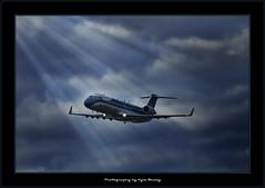Jet / Sunbeam / Blue / Airplane / Fly / Flying / HDR / Clouds / YVR / CRJ / Vancouver / Nav Canada / Kyle Bailey (Kyle Bailey - Da Big Cheeze) Tags: blue vancouver clouds airplane fly flying ngc jet yvr sunbeam hdr crj navcanada kylebailey rookiephoto dabigcheeze wwwrookiephotocom worldmachineshdr